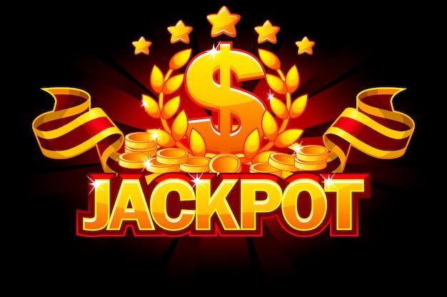 Джекпот баннер с знак доллара и красной лентой. казино награды и монеты.