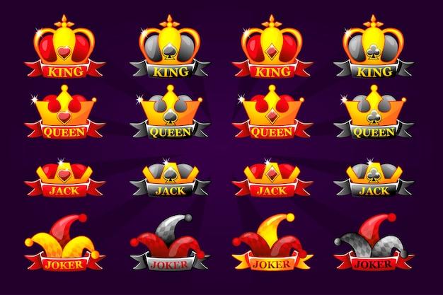Иконы игральных карт с короной и лентой. символы покера для казино и графического интерфейса. король, королева, валет, туз и джокер.