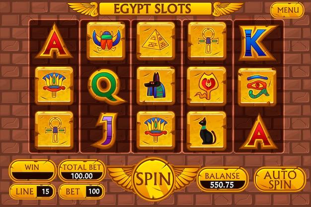 エジプトの背景のメインインターフェイスとカジノスロットマシンゲームのボタン、シンボルエジプト