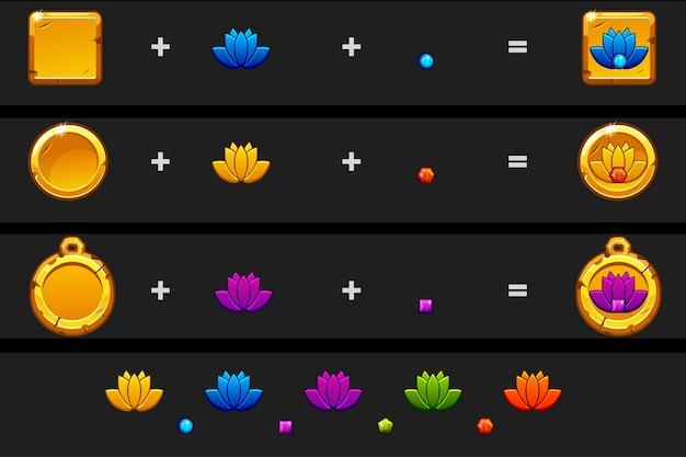 Создайте лотос значок мультяшном стиле. разные вариации и цвета.