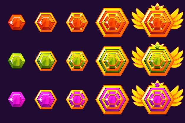 Драгоценные камни награждают прогрессом. золотые амулеты с шестигранными украшениями. иконки активов для игрового дизайна.