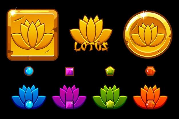 Лотос значок мультяшном стиле, золото лотос на монете, различные вариации и цвета.