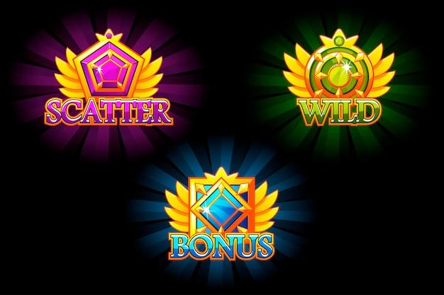 Слот-иконки. бонус, разброс и дикий. разноцветные ювелирные камни. награды с драгоценными камнями. игровой актив для казино и пользовательского интерфейса