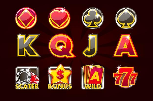Игровые иконки карточных символов для игровых автоматов и лотереи или казино в черно-красных тонах. игровое казино, слот, интерфейс
