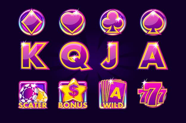 Игровые иконки карточных символов для игровых автоматов или казино в фиолетовых тонах. игровое казино, слот, интерфейс