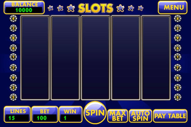 Интерфейс игрового автомата синего цвета. полное меню графического интерфейса пользователя и полный набор кнопок для создания классических игр казино.