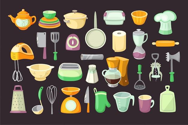 台所用品。孤立したイラスト