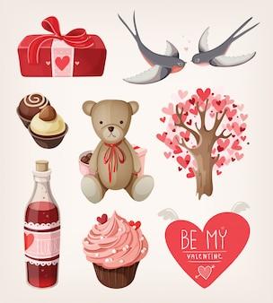 バレンタインデーのロマンチックなアイテムのセット。孤立したイラスト