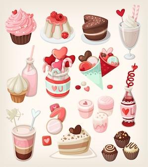 愛関連の機会のためのカラフルな食べ物:バレンタインデー、ロマンチックなデート、結婚式