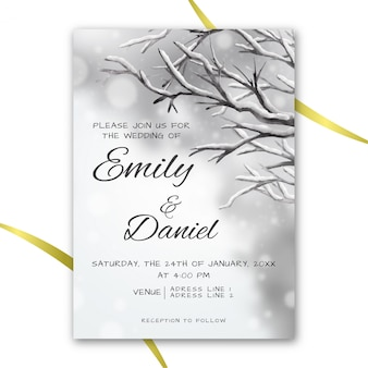 冬のテーマで水彩の結婚式の招待状