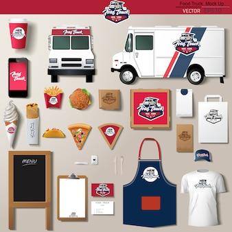 Еда грузовик фирменный набор шаблонов дизайна. брендинг шаблона.