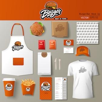 Бургер бар фирменный стиль дизайн шаблона установлен. брендинг шаблона.