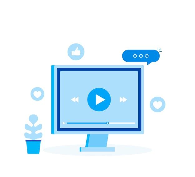 Концепция видео уроки значок. онлайн вебинар и видеоконференция подписывают дизайн с комментариями.