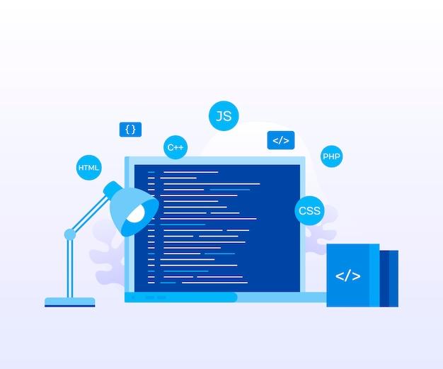 Концепция экран ноутбука с программным кодом для веб-страницы, баннер, презентация, социальные медиа, документы. современный плоский стиль векторные иллюстрации