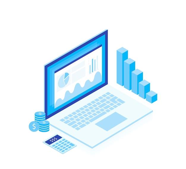 Концепция бизнес-стратегии. анализ данных и инвестиций. изометрические элементы. успех в бизнесе. финансовый обзор с ноутбуком и инфографики элементов. изометрический дизайн