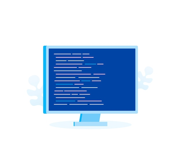 Экран компьютера с программным кодом для веб-страницы, баннер, презентация, социальные медиа, документы. современный плоский стиль векторные иллюстрации