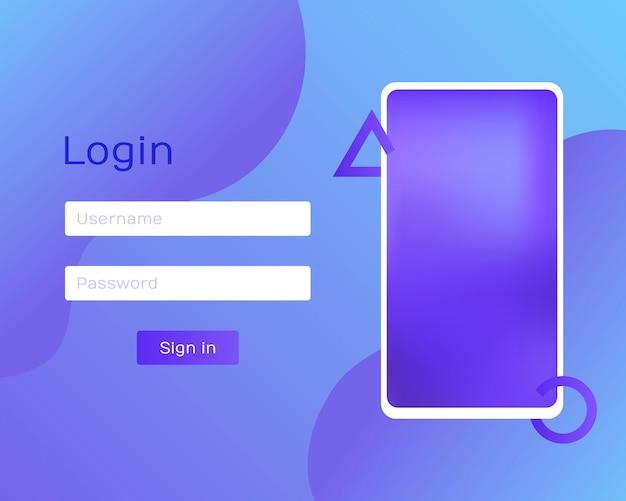 Вход в приложение с паролем из окна по телефону. чистый мобильный интерфейс. модные голографические градиенты. плоские веб-иконки. современная иллюстрация