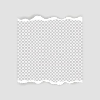 テキストまたはメッセージの破れた紙の空白のシート。破れた紙の端。