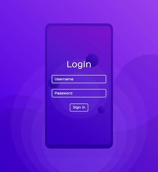 Экран входа. чистый мобильный интерфейс. вход в приложение с окном формы пароля. модные голографические градиентные формы. плоские веб-иконки. современный плоский стиль иллюстрации