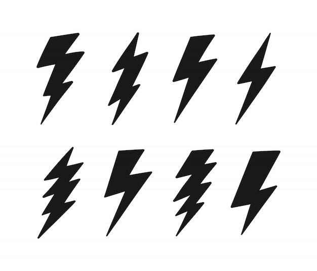 Супер набор рисованной молнии. удар молнии, удар молнии. современный плоский стиль