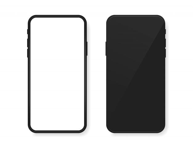 Смартфон пустой экран, макет телефона с вид спереди и сзади.
