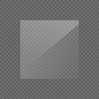 長方形のガラス板、鏡、窓。ガラス板または透明な背景に分離されたバナー。画像または鏡の光の効果