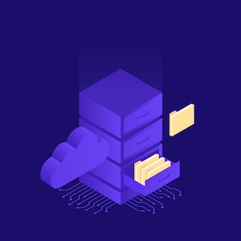 クラウドデータストレージとサーバールームでのホスティング。クラウドを使用したサーバールームのファイルストレージ。アイソメ図スタイルのモダンなイラスト