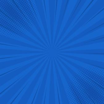 コミックハーフトーンコーナーと青いレトロな背景。夏の背景。漫画本、ポスター、広告デザインのレトロなポップアートスタイルで
