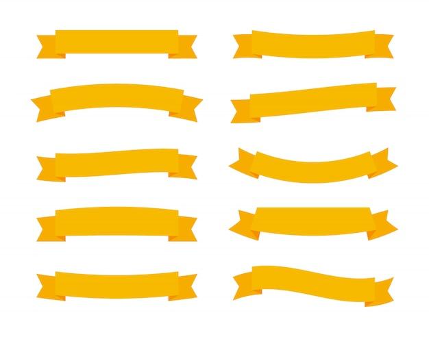 白い背景に分離された異なるフラットベクトルリボンバナーを設定します。折り紙スタイルのデザインの黄色のストリップ