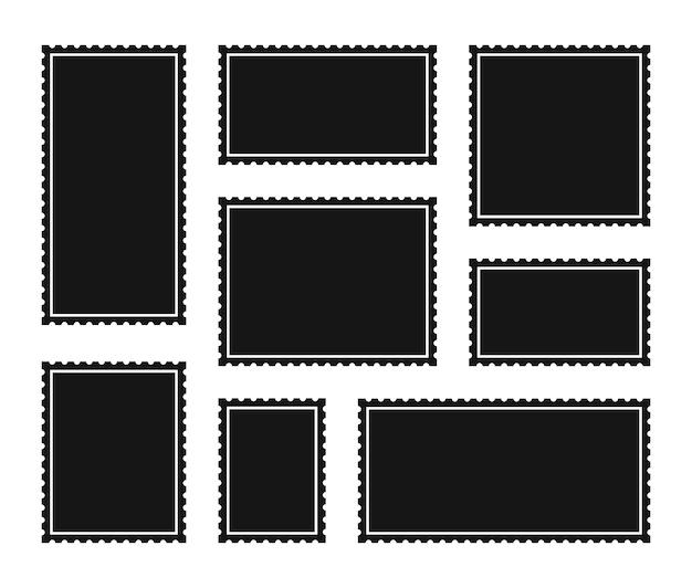 Установите пустую почтовую марку. зубчатые границы почтовой наклейки стикер шаблон.