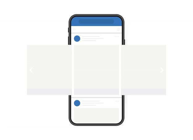 Концепция дизайна социальных медиа. смартфон с интерфейсом карусели пост в социальной сети. современный плоский стиль