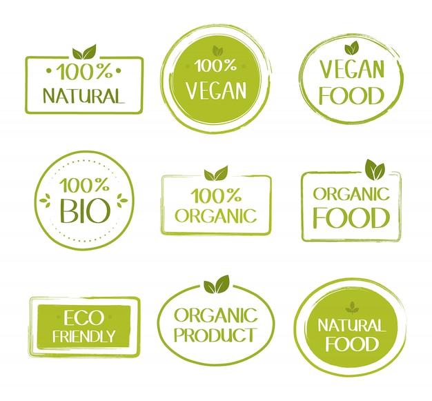 Органические здоровые веганские пищевые этикетки. натуральные, свежие, натуральные продукты питания коллекция наклеек. векторный графический дизайн