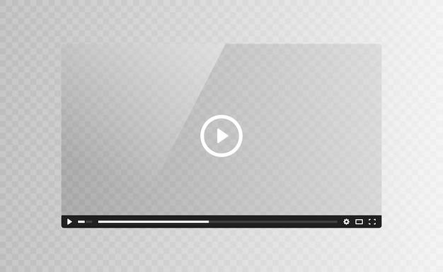 透明な背景に分離された現実的なビデオプレーヤーのガラススクリーン。