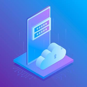 企業の公開データの保存、ファイルへのアクセス、最新のサーバールーム、スマートフォン、クラウドアイコン、登録フォーム。モダンなアイソメ図