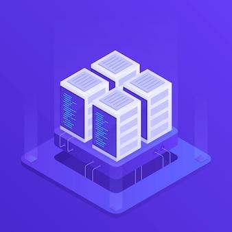 Хостинг с облачным хранилищем данных и серверной комнатой. серверная стойка. современная иллюстрация в изометрическом стиле