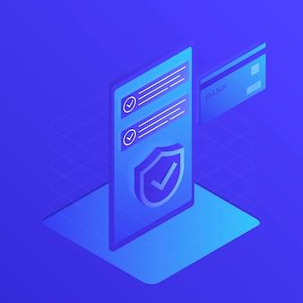 Изометрические телефон и банковская карта на синем с щитом безопасности.