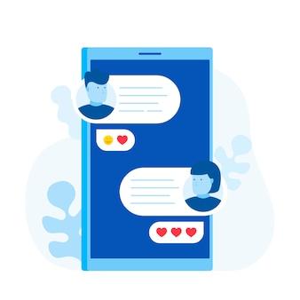 スマートフォンでチャットメッセージ通知、男性と女性が携帯電話でチャット。