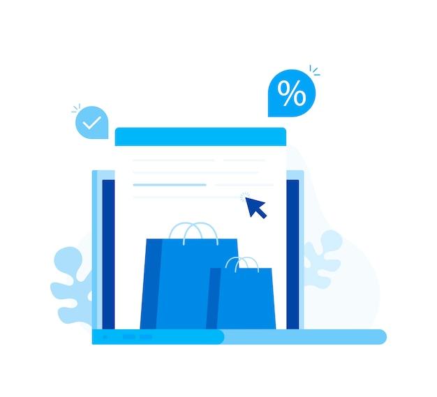 Концепция интернет-магазинов. ноутбук с сумками.
