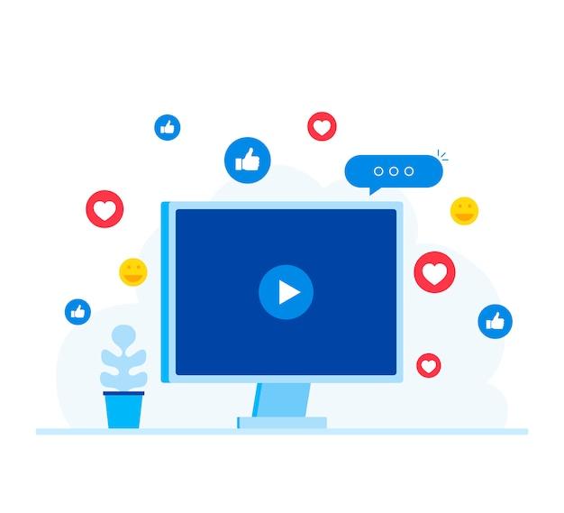 ビデオマーケティング、ライブストリーミングの概念。
