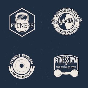 ケトルベル、バーベル、ダンベルのビンテージスタイルのスポーツフィットネスバッジのセット。