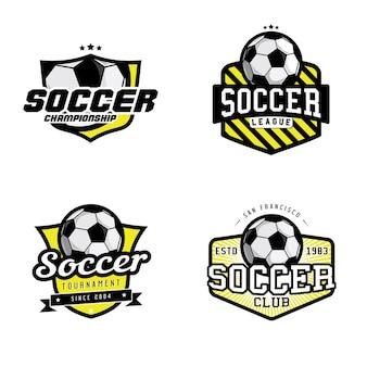 サッカーリーグ、選手権、クラブバッジのセット
