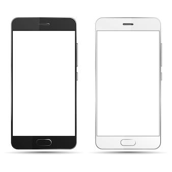 空白の画面で分離された黒と白のスマートフォン。