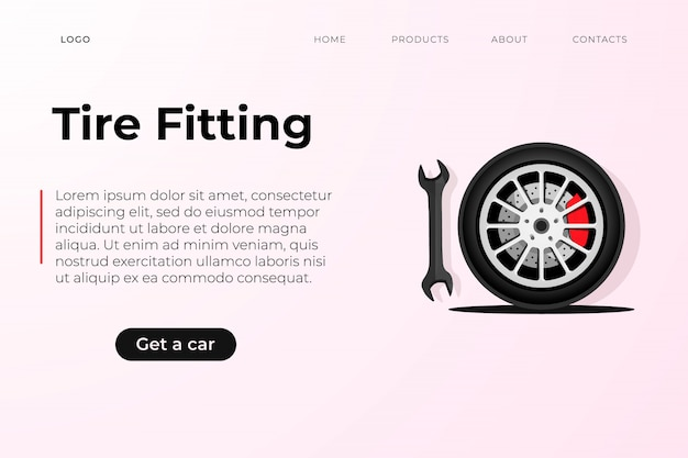Целевая страница шаблона сервисного дизайна шин