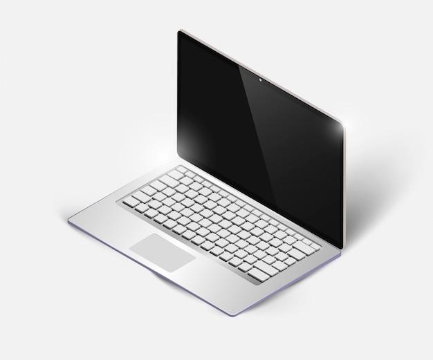 Реалистичный высокий подробный ноутбук изометрическая проекция.