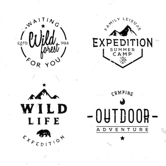 Набор открытых логотипов в винтажном стиле