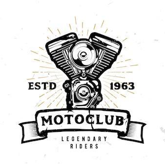 Логотип мотоклуба с высокодетализированным мотоциклетным двигателем в монохромном стиле