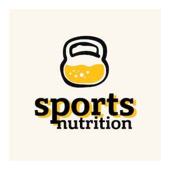 スポーツ栄養のロゴのコンセプト。ケトルベルコンセプト内のタンパク質。