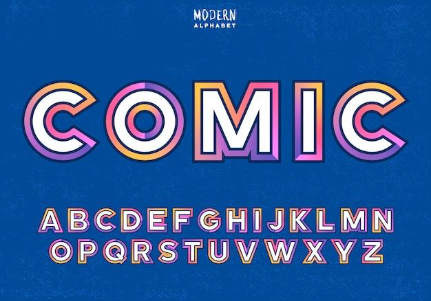 Красочные простые в использовании буквы. современные цветные штрихи вокруг белых букв, изолированных на синем фоне. современный цветной шрифт без засечек в веселом детском стиле