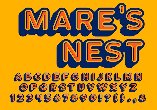 Ретро округлые буквы в стиле с внутренними и внешними тенями, винтажный алфавит, округлый шрифт без засечек