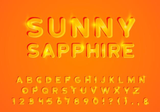 日当たりの良い光のアルファベット。明るい輝きのアルファベット、黄色の鮮やかな文字